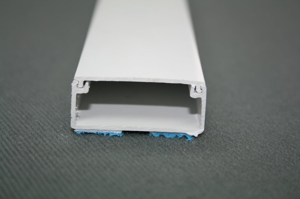 38mm wide plastic mini trunking with clip off top for hiding cables
