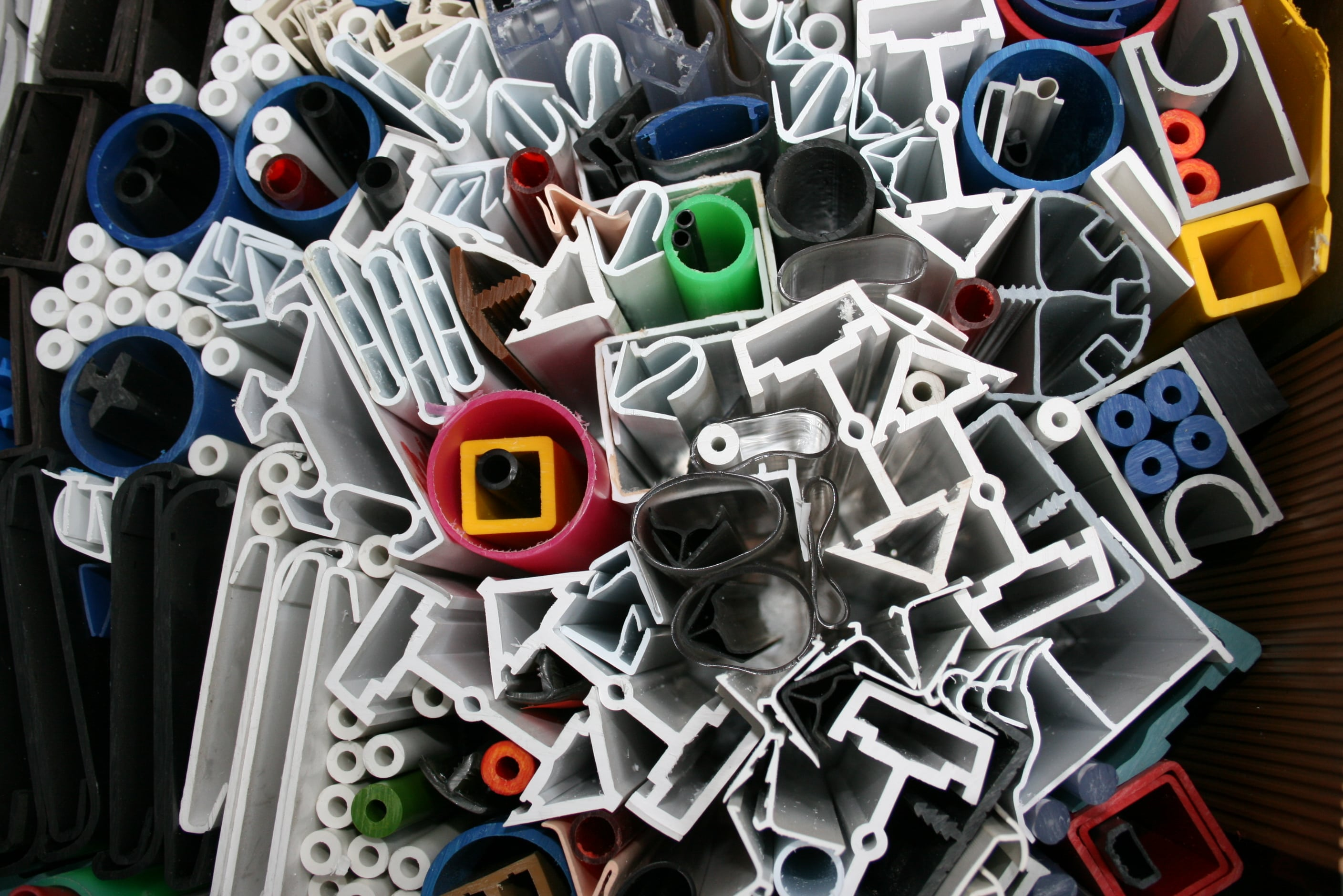Selection of plastic extrusion products made by D W Plastics