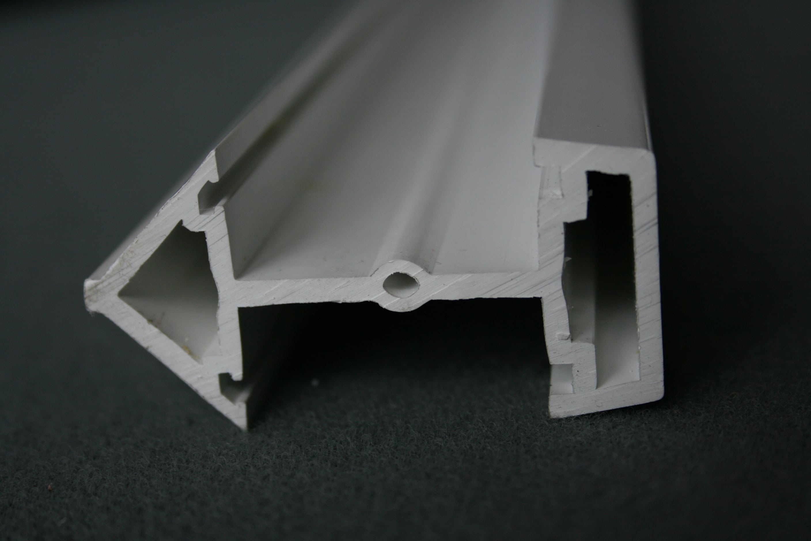 white plastic window extrusion profile