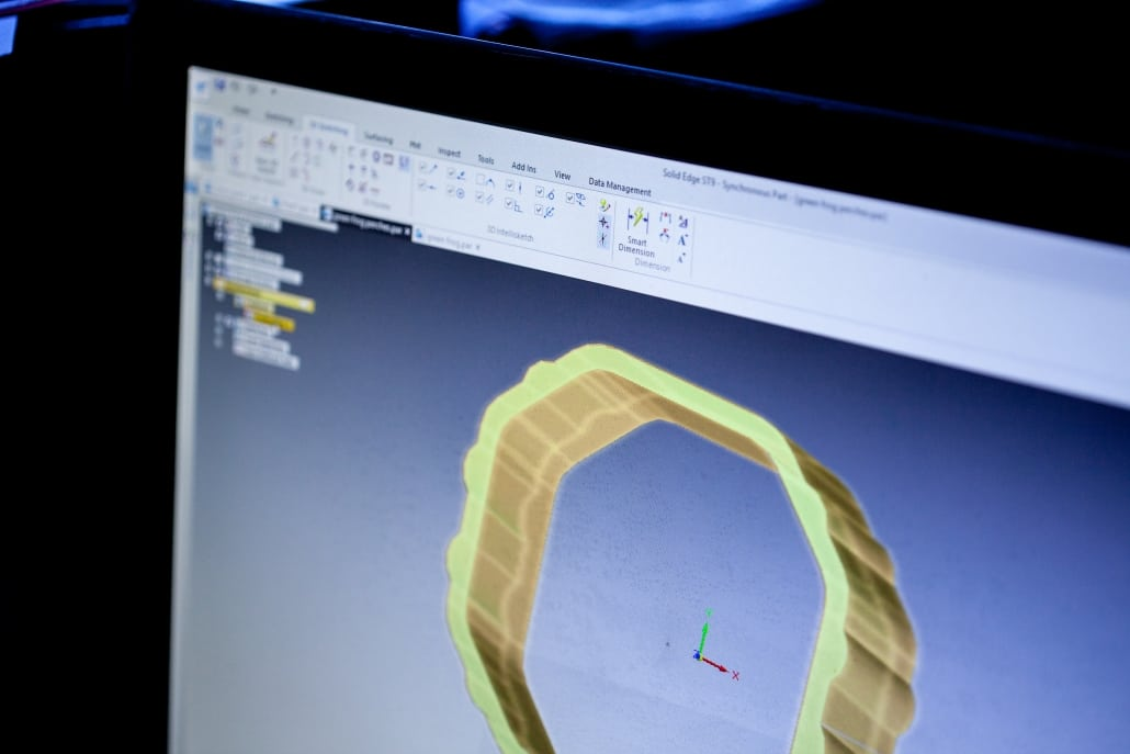a design of a plastic extrusion on a computer monitor