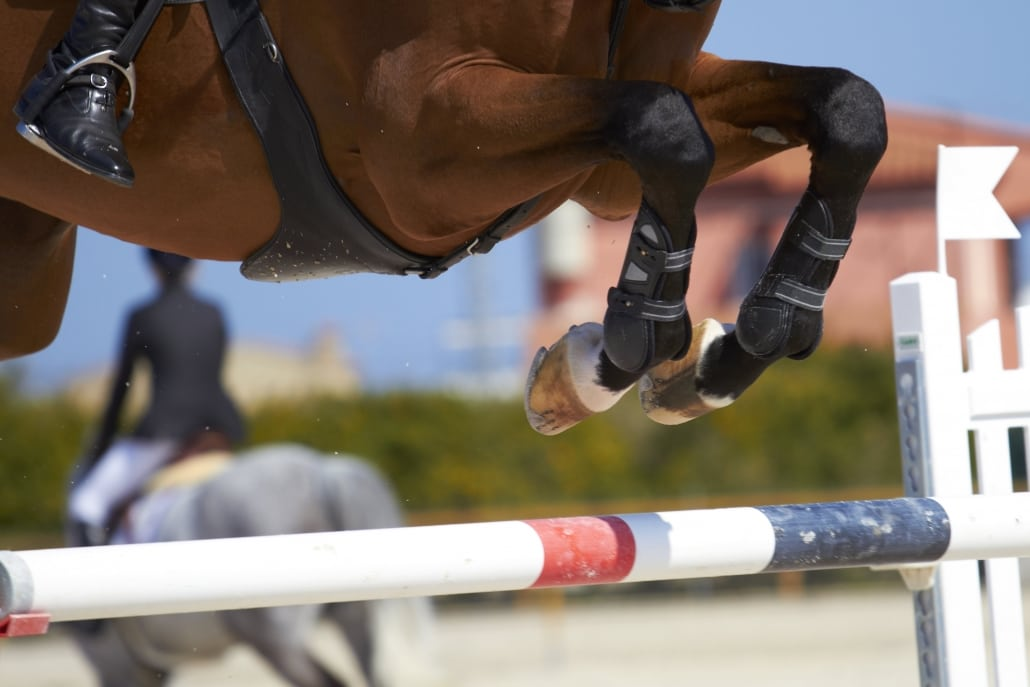 A photo of a plastic pole used in show jumping