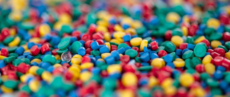multicoloured plastic pellets