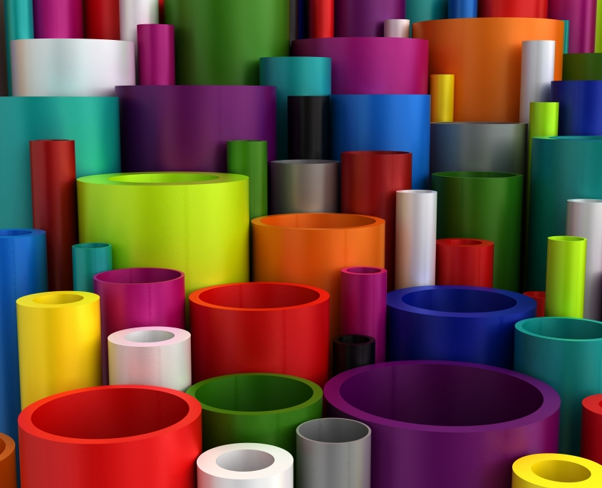 Colourful industrial extruded plastic pipes and tubes