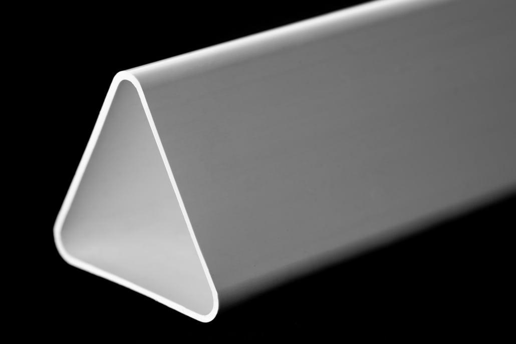 White rigid angled plastic extrusion