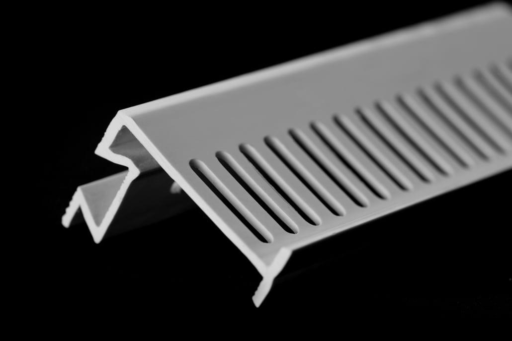 rigid white plastic extrusion